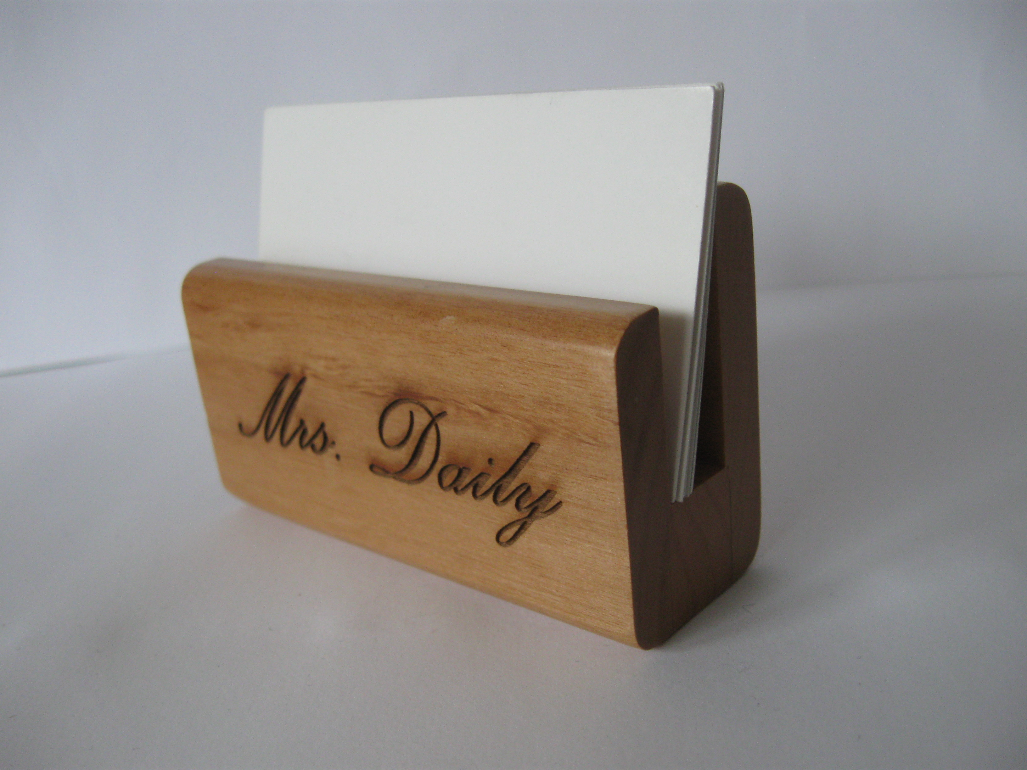 Engraved Wood Business Card Holder
